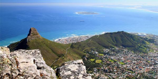 Panorámica de Lions Head, Signal Hill y Robben Island
